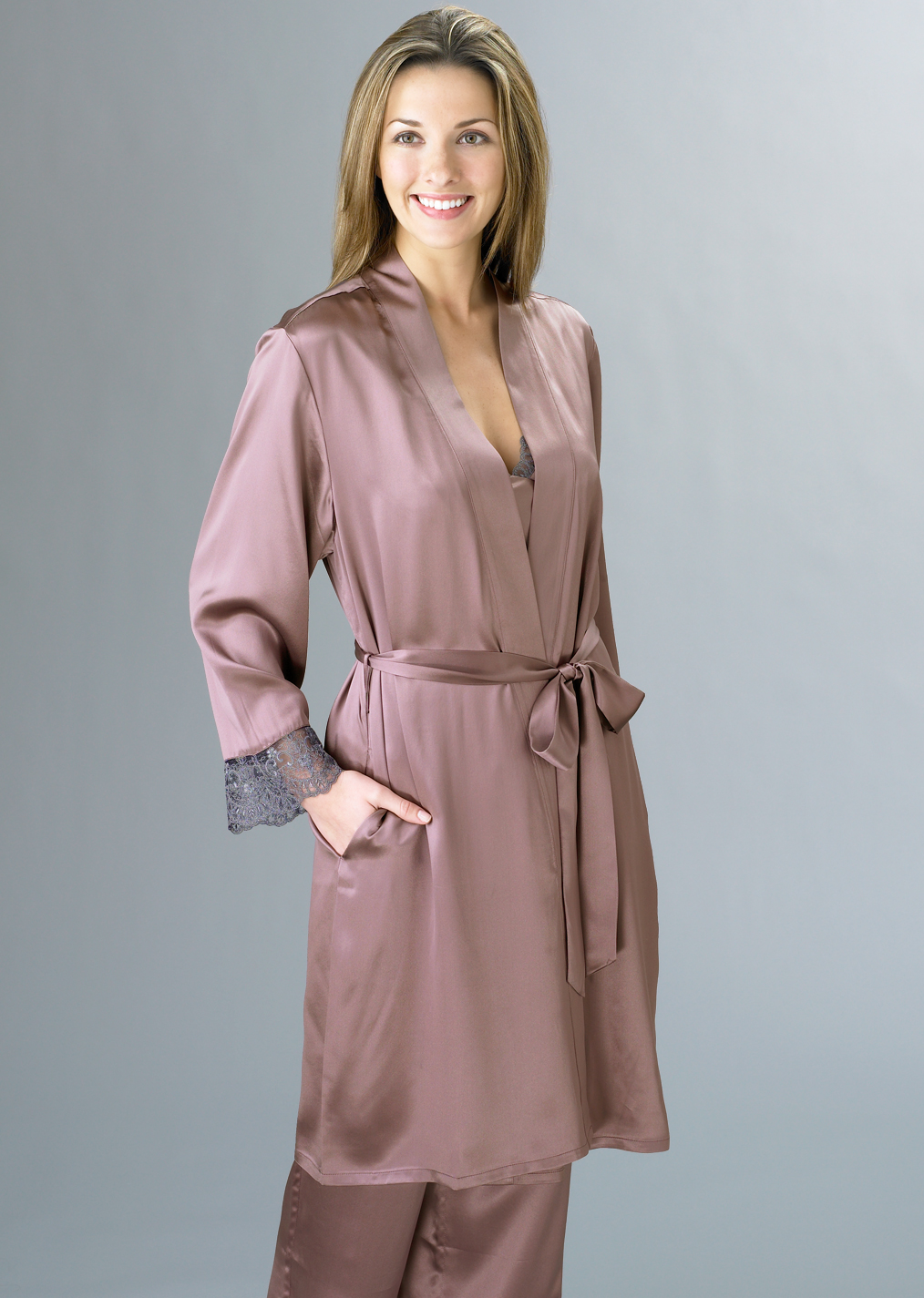 luxury silk short robe